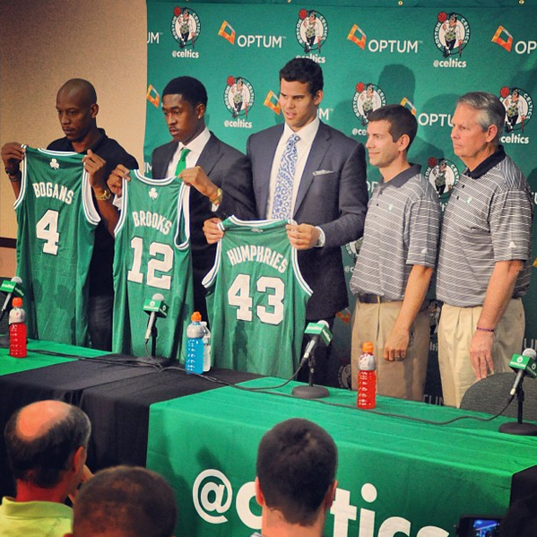 The new-look Celtics look like they want to have a suicidal rally together. Holy shit. Keith Bogans, MarShon Brooks and Kris Karadashian (I mean Humphries)... whaddup, brahs?! Welcome to the temporary land of Boston basketball futility, yo!