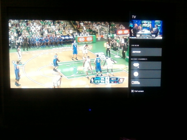Taken with the shoddy camera from my phone. I was playing in MyGM mode with the Boston Celtics against the Orlando Magic on NBA 2K14 while watching (listening to) NFL Network in the top right corner. Notice the Bears/Rams graphical overlay in the background on NFL Network (again in the top right corner). Nice.