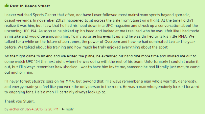 A beautiful comment about Stuart Scott from an MMA site.