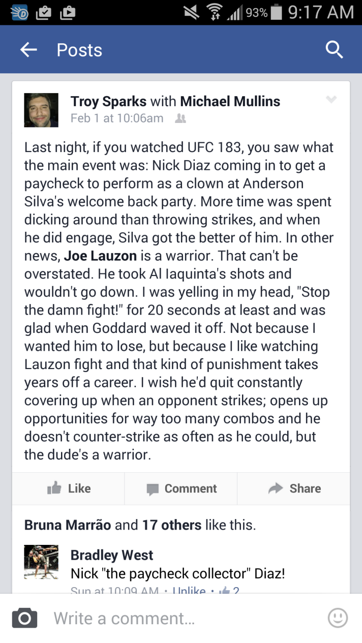 My original thoughts on UFC 183. Nick Diaz went into the octagon for the paycheck to perform as a clown at Anderson Silva's welcome back party.
