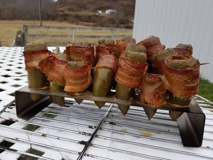 Smoked bacon-wrapped cheese stuffed jalapeno peppers!